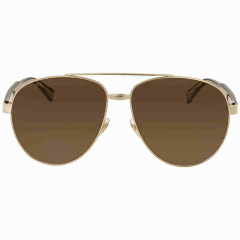 Gucci GG0054S 002 61MM Gold Havana Frame With Brown Lens Authentic