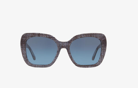 Tory Burch TY7127 17398F 56 Women's Crystal on Raffia Frame Grey Lens Sunglasses