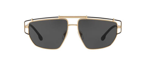 Versace Unisex Sunglasses VE2202 143687 57mm Gold-Black / Grey Lens