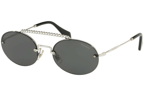Miu Miu SOCIeTe Grey Oval Ladies Sunglasses MU60TS 1BC1A1 54 Silver / Grey