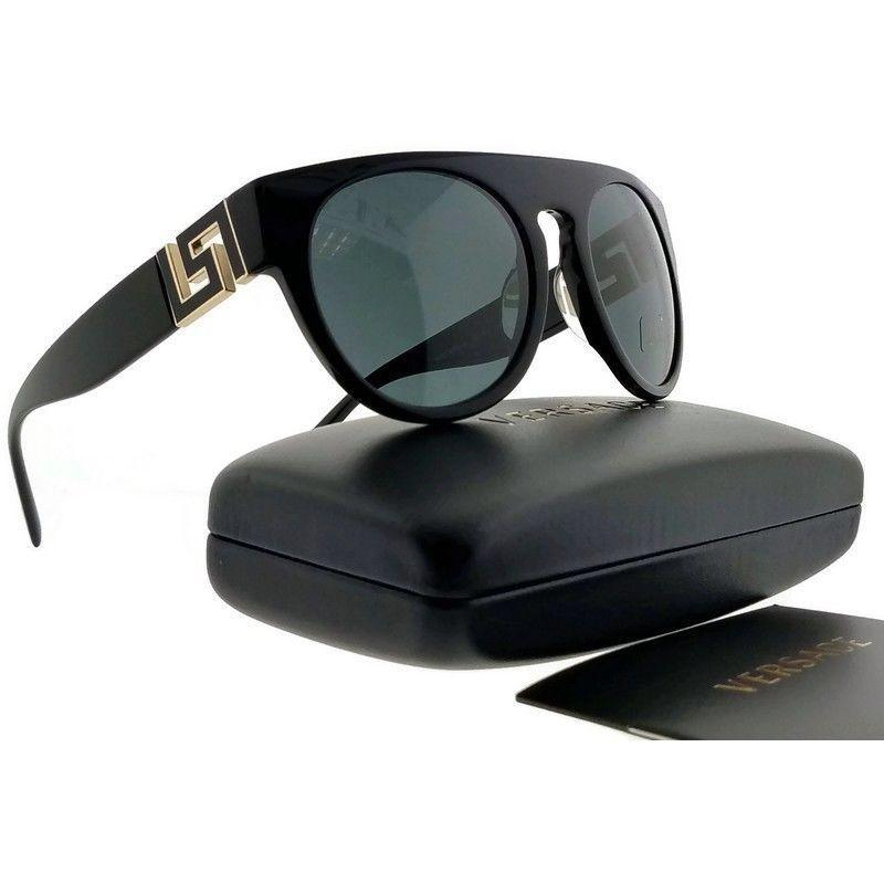 New Versace VE4333A GB1/87 55 Black Gold Accent / Smoke Round Women's Sunglasses