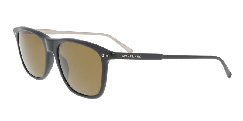 Mont Blanc Sunglass Square Style Brown Lens - Unisex Sunglass Black Frame MB600S 01M 55mm