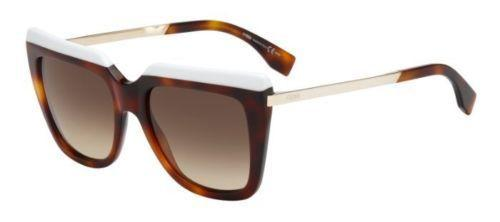 Fendi Sunglass Square Style FF0087 CUM 53mm Brown Lens - Women Sunglass Havana White Frame