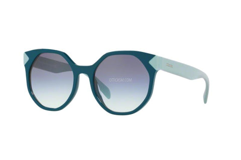 Prada Round Style Sunglasses W/Blue Clear Gradient Lens