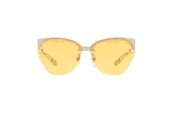 Bvlgari Sunglass Cat-Eye Style Taupe Transparent Frame with Yellow Lens - BV6107 204985 62