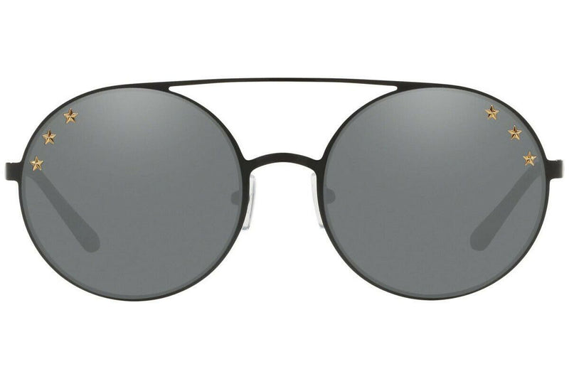 Michael Kors Sunglass MK1027 12026G Cabo Round Style - Shiny Black Color Gunmetal Mirrored Lens