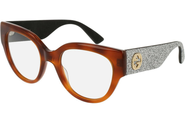 Gucci eyeglass cat eye style GG0103O 004 50mm - Women Havana color & silver demo lens