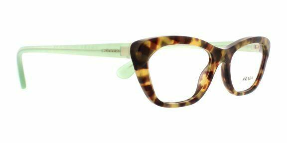 Prada Eyeglass - Cat Eye Style PR03QV UEZ1O1 54MM spotted brown green plastic frame clear lens