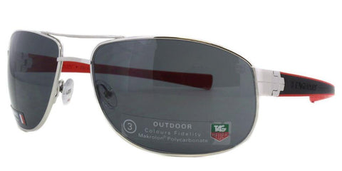 Tag Heuer Men Aviator Sunglasses Silver Frame Grey TH0252 102 63mm