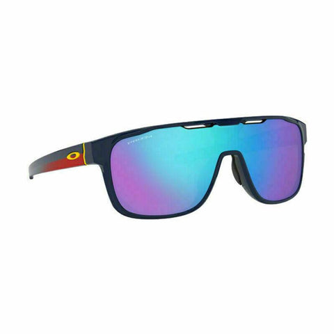 New Oakley  OO9387 10 31mm Crossrange Shield Sunglasses Navy Blue Prizm Lens