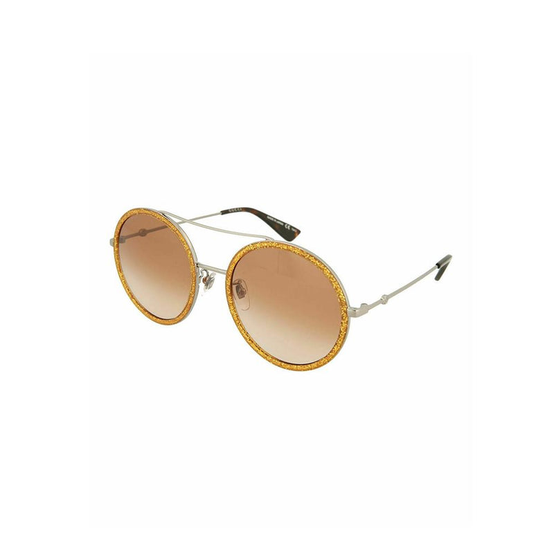 Gucci Sunglasses Round Gold Glitter Silver Sunglasses GG0061S 011 Japan Made
