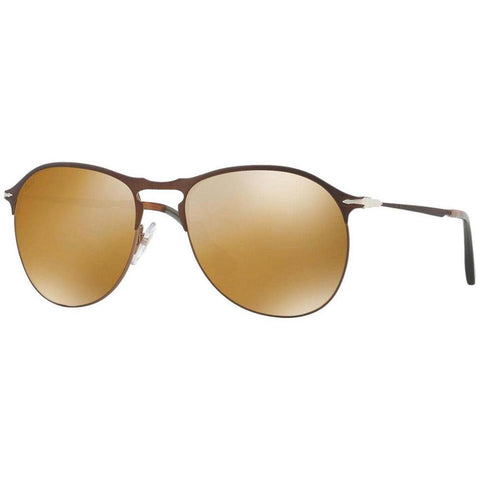 Persol Sunglasses Oval Style Brown Gold Mirrored Lens