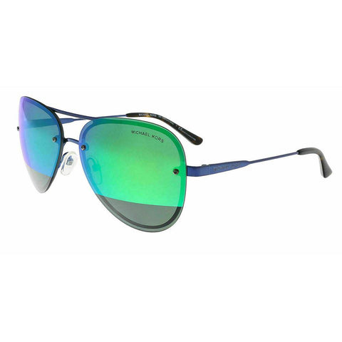 Michael Kors Aviator Style Sunglasses Navy Blue Metal Frame & Block Green Mirrored Lens.