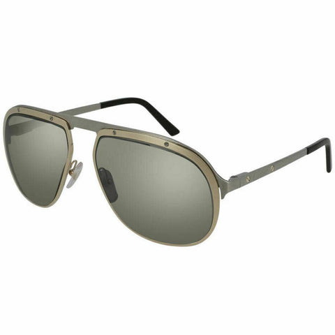 Authentic Cartier CT0035S 003 60MM Gold With Ruthenium Temples And Silver lenses