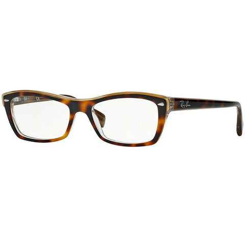 Ray Ban Cat Eye Style Havana On Transparent Eyeglasses W/Demo Lens