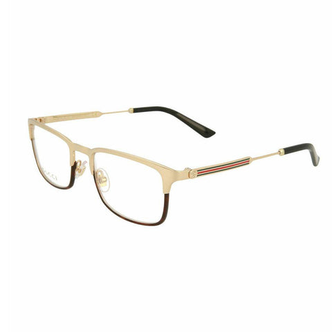 Gucci Rectangular Style Gold Eyeglasses W/Demo Lens