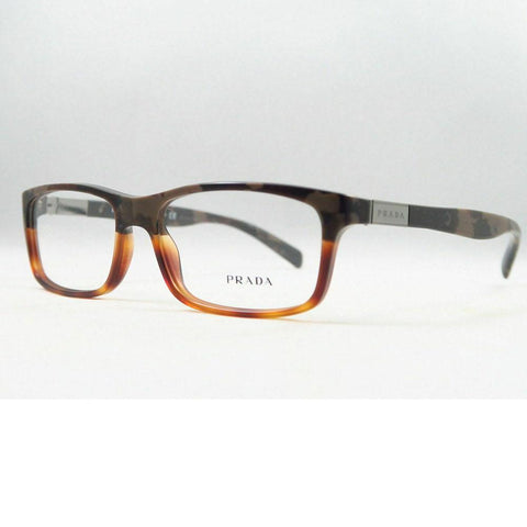 Prada Rectangular Style Matte Brown Havana Eyeglasses W/Demo Lens
