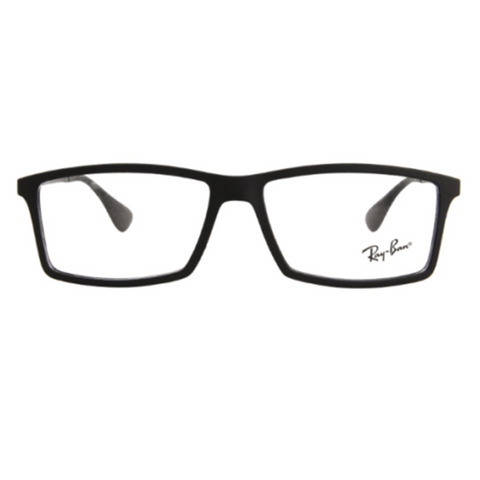 Ray Ban Square Style Black Rubber Eyeglasses W/Demo Lens