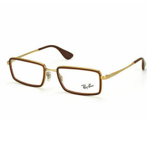 Ray Ban Rectangular Style Gold Brown Eyeglasses W/Demo Lens