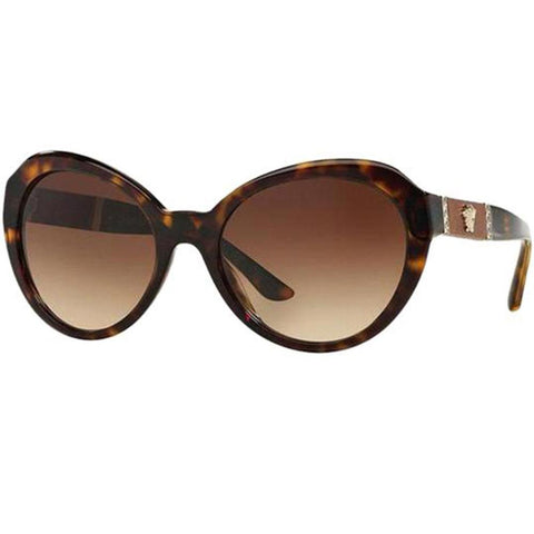 Versace Sunglasses Women Oval Frame Brown Lens