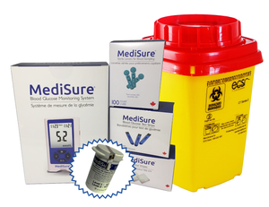 MediSure Meter Kit (Glucometer, 100 Strips, 100 Lancets, 100 Alcohol Wipes) + FREE Vial of 10 + FREE Sharps Container)