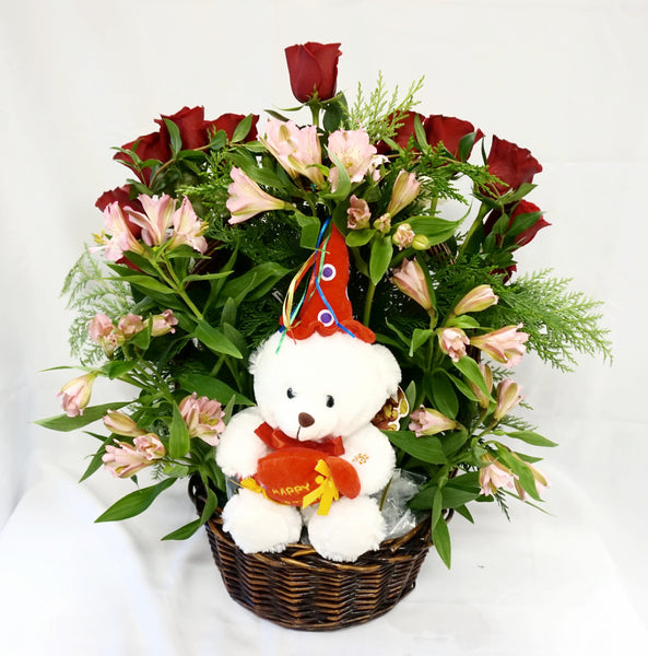 Rose Heart & Bear Basket