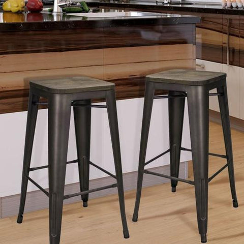 bronze metal industrial farmhouse bar stools