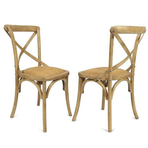 rattan  farmhouse x-back dining chair