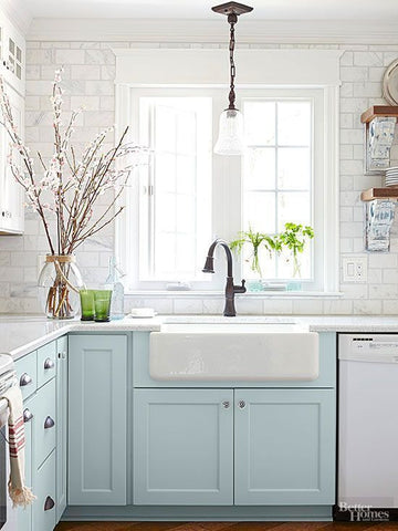 Rustic Modern Farmhouse Kitchen colored cabinets