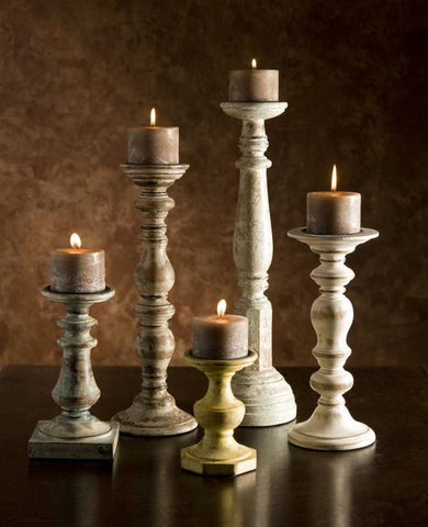 distressed rustic farmhouse candlesticks