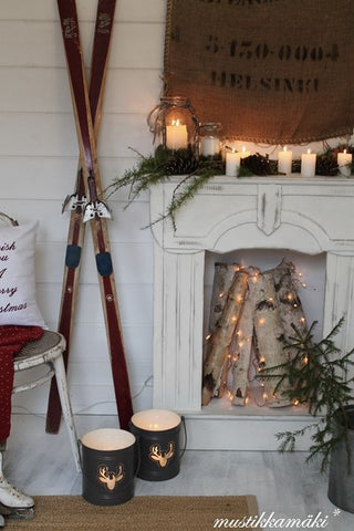 Winter modern rustic farmhouse decor skis and mantle