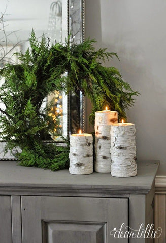 Winter modern rustic farmhouse decor birch candles and wreaths