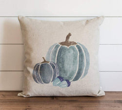 3 Blue Watercolor Pumpkins Pillow Cover
