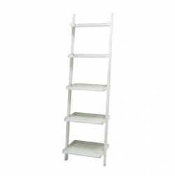 5-Tier White Leaning Shelf