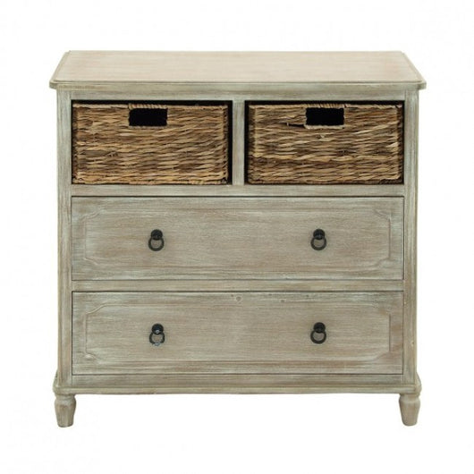 Weathered 2 Drawer Chest With Baskets