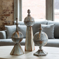 Aged Metal Finial Collection, Set of 3