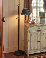 Antique Iron Floor Lamp with Shade - Black