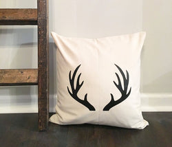 White Antler Pillow Cover