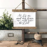 """As for me and my house we will serve the Lord"" Hanging rustic farmhouse sign Canvas Poster"