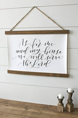 """As for me and my house we will serve the Lord"" Hanging farmhouse sign Canvas Poster"