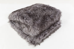 Asena Charcoal Faux Fur Throw Blanket