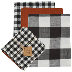 Autumn Checkerboard 3 Dishtowel & 1 Dishcloth Set farmhouse fall