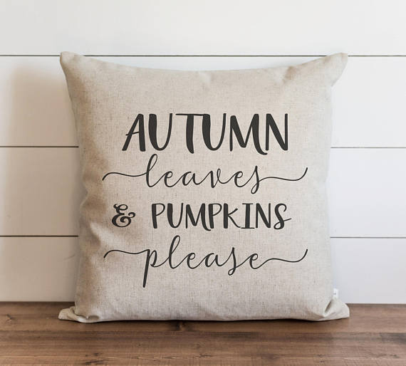 Autumn Leaves & Pumpkins Please 20 x 20 Pillow Cover