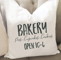 Bakery Hours Throw Pillow Cover