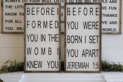 Before I Formed You In The Womb Jeremiah 1:5 Sign