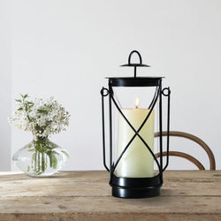 Black Iron Pillar Candle Lantern