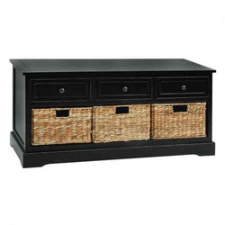 Black Wood 3-Drawer Bench