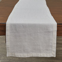 pure white smooth linen table runner