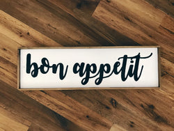 Bon Appetit Script Wood Sign