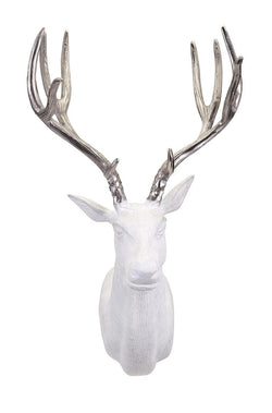 Bowen White with Silver Antlers Modern Deer Wall Mount